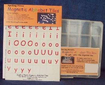 Spelling Power Magnetic Alphabet Tiles with Organizer Box