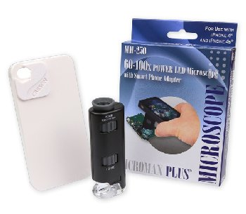 MicroMax Plus LED Microscope with iPhone 4/4S Adapter