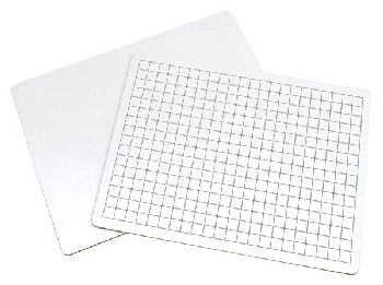 "Math Whiteboard 2-sided (1/2"" Grid/Plain) 9"" x 12"""