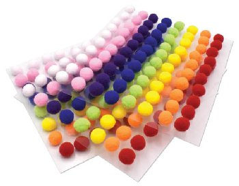 Peel-n-Stick Pom Pons - assorted colors (240 pieces)