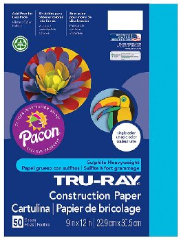 "Tru-Ray Sulphite Construction Paper-Atomic Blue (9""x 12"") 50 sheets"