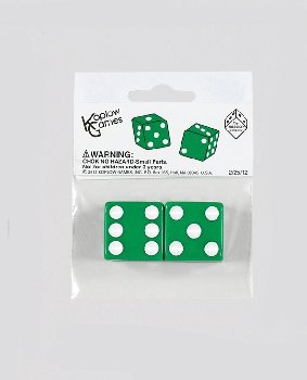 "Green Dice - 25mm (1"") One Pair"