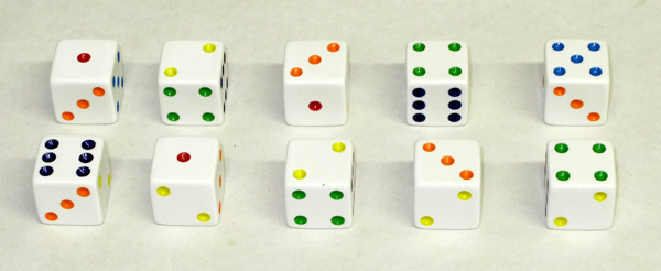 Rainbow Spotted Dice - 19mm (10 in Bag)