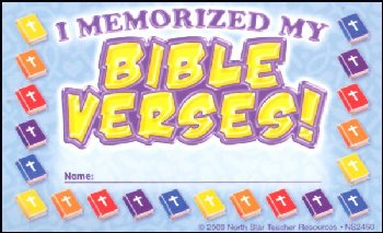 I Memorized My Bible Verses! Incentive Punch Cards