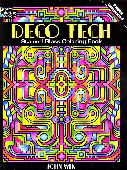 Deco Tech Stained Glass Coloring Book