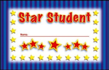 Star Student Incentive Punch Card