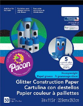 Pacon Glitter Construction Paper Pad (Assorted Colors)