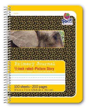 "Pacon Spiral Composition Book - 1/2"" Picture Story Ruled (Yellow)"