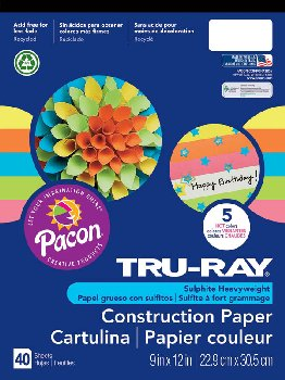 Tru-Ray Sulphite Construction Paper Pad (Hot Color Assortment)