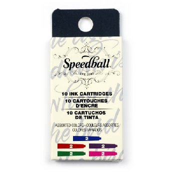 Speedball Calligraphy Fountain Pen Ink Cartridges Set - Assorted Colors (2 each of 5 colors)