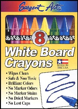 White Board Crayons Standard Size - Set of 8 (Assorted Color)