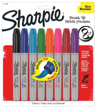 Sharpie Brush Tip - 8 count (assorted colors)