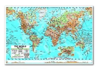 World Advanced Physical Laminated Rolled Map