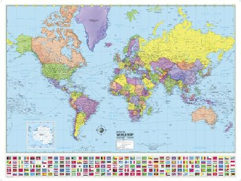 World Advanced Political Laminated Rolled Map