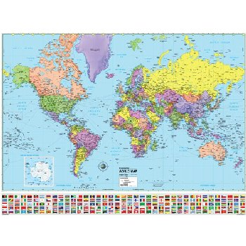 World Advanced Political Paper Rolled Map