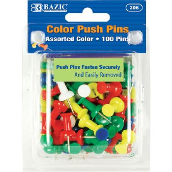 Push Pins (100-Pack) - Assorted colors