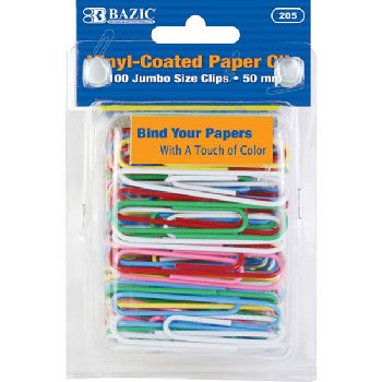 Paper Clips (50mm) 100-Pack Jumbo size, color