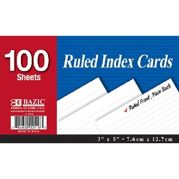 "Ruled White Index Cards (3"" x 5"") 100 Count"