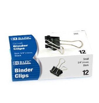 "Small Black Binder Clips (3/4"") Box of 12"