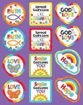 God's Love Shape Stickers (72 stickers)