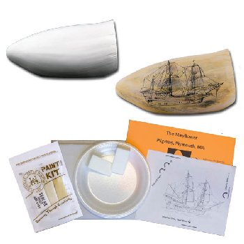 Scrimshaw Whale Tooth Art: Mayflower