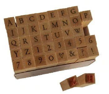 Printer's Type Uppercase Alphabet Stamp Set