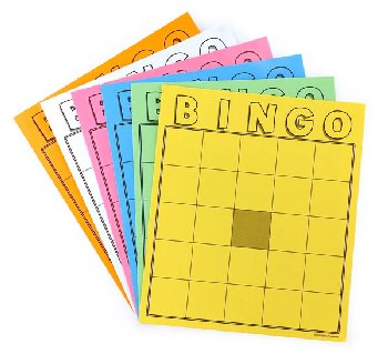 Colored Blank Bingo Cards (Package of 36)