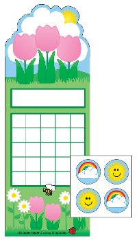 Spring Flowers Personal Incentive Charts and Stickers