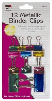 Binder Clips: Metallic Assorted Sizes and Colors