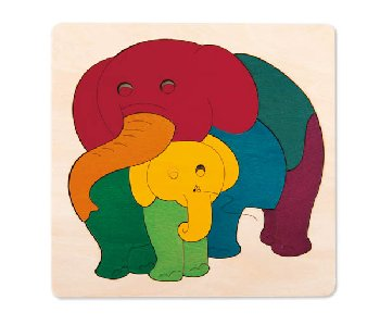 Rainbow Elephant & Baby George Luck Wooden Layers Puzzle