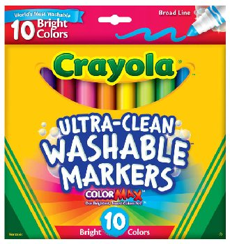 Crayola Ultra-Clean Washable Broad Line Markers - Bright 10 Count