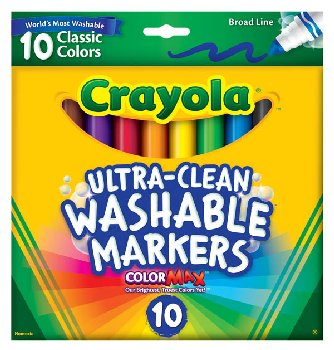 Crayola Ultra-Clean Washable Broad Line Markers - Classic 10 Count