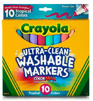 Crayola Ultra-Clean Washable Broad Line Markers - Tropical 10 Count