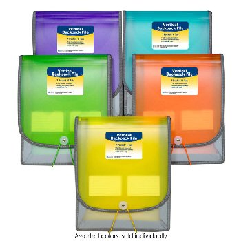 Seven-Pocket Backpack File, Assorted Colors