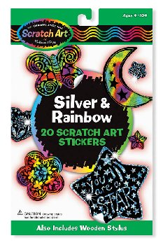 Scratch Art Silver & Rainbow Stickers