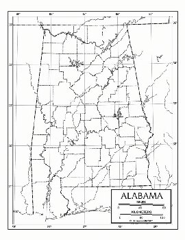 "Alabama Map Laminated single (8+"" x 11"")"