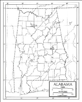 "Alabama Map Paper single (8+"" x 11"")"