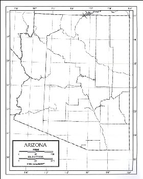 "Arizona Map Laminated single (8+"" x 11"")"