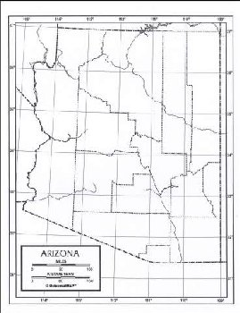 "Arizona Map Paper single (8+"" x 11"")"