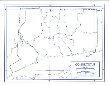 "Connecticut Map Laminated single (8+"" x 11"")"