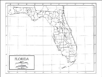 "Florida Map Paper single (8+"" x 11"")"