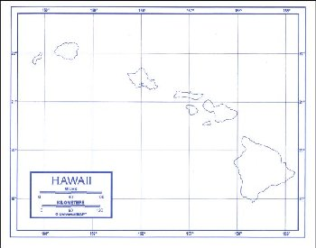 "Hawaii Map Laminated single (8+"" x 11"")"