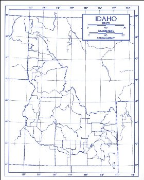 "Idaho Map Laminated single (8+"" x 11"")"