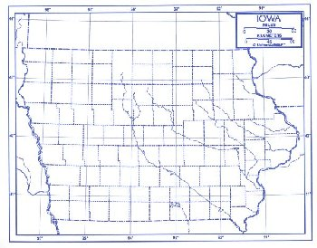 "Iowa Map Laminated single (8+"" x 11"")"