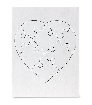 "Blank Heart Shaped Puzzles (6""x8"") 8 Puzzles"