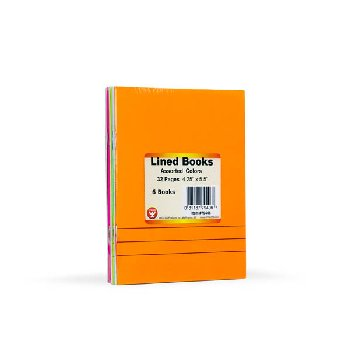 "Lined Blank Books - Bright Assorted Colors Package of 6 (4.25"" x 5.5"")"