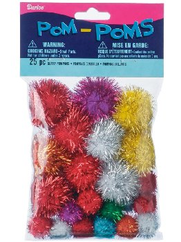 Glitter Pom Poms Assorted Sizes (25pc/pkg)