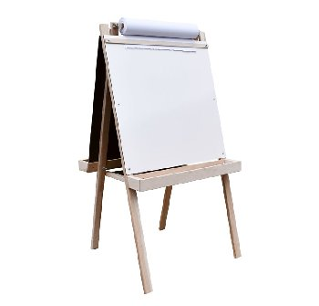 Deluxe Child's Easel: Chalkboard/Markerboard with Wood Trays 48""