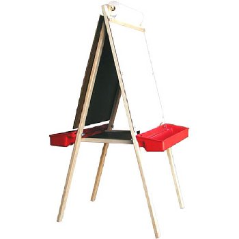 Deluxe Child's Easel: Magnetboard/Chalkboard with Red Trays 48""