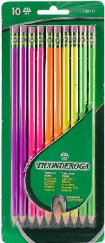 Dixon Ticonderoga Assorted Neon Colors #2 Presharpened 10 count